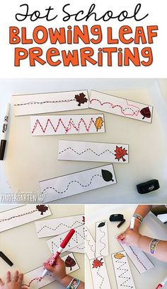 This blowing leaf prewriting activity is great for fine motor practice with a fall theme. Great for tot school, preschool, or even kindergarten!