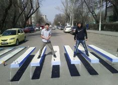 @yalbader sent me this great photo of an optical illusion pedestrian crossing in Kyrgyzstan – what a fab idea!
