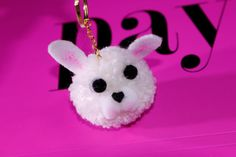 Pom Pom Bunny Head Animal Keychain for by PrettyInPom on Etsy