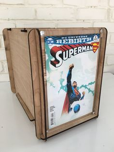 Father's Day Gift for Superman Dad - Handcrafted comic book storage short box with Superman Comic Book included by RomanyHouse on Etsy