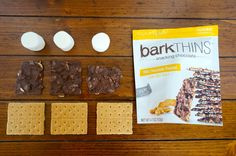 S'mores made with Milk Chocolate Peanut BarkThins   Sweeterville.com