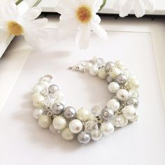 Gray White Ivory Glass Pearl Crystal by DaisyBeadzJoaillerie, $20.00