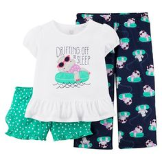 Just One You™ Made by Carter's® Toddler Girls' 3-Piece Mix & Match Hippo Pajama Set