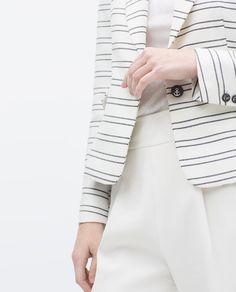 Image 6 of STRIPED ONE-BUTTON JACKET from Zara Zara Official Website, Jacket Buttons, Zara Women, Blazer Jacket, Jackets For Women, Image, Woman, Cardigan Sweaters For Women, Women