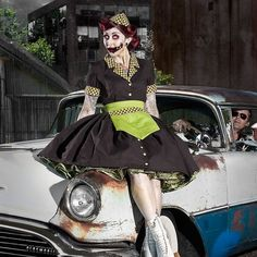 Zombie Pinup Car Hop Retro 50s Waitress Dress Apron and Hat Halloween Costume Brown and Lime Green Hat and Apron Custom Size Plus Size on Etsy, $299.95