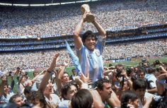 (FILE - This is a June 29, 1986  file photo  of  Diego Maradona of Argentina celebrates with the cup at the end of the World Cup soccer final in the Atzeca Stadium, in Mexico City, Mexico. Argentina defeated West Germany 3-2 to take the trophy.   With one week to go before the World Cup starts in Brazil, The Associated Press)   takes a look at 10 great stars in the tournament's history. Maradona One the greatest playmakers of all time, Maradona was joint FIFA Player of the 20th Century with…