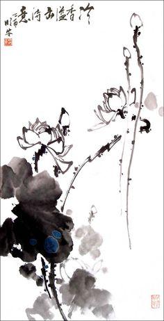 lotus, Chinese painting, artist Mingan Luo