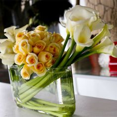 White Calla Lilies and Champagne Roses - Modern