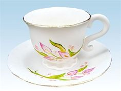 "YummyArts Online Version ""My Cup of Tea"" Gumpaste Teacup and Saucer"