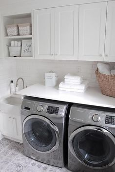 Laundry room with cement floor tile. White Laundry room with cement floor tile… White Laundry Rooms, Mudroom Laundry Room, Laundry Room Remodel, Laundry Room Organization, Laundry In Bathroom, Garage Laundry, Laundry Room Cabinets, Laundry Baskets, Laundry Area