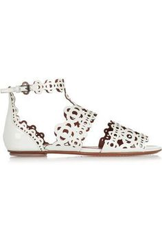 Laser-cut patent-leather sandals #shoes #covetme #alaïa