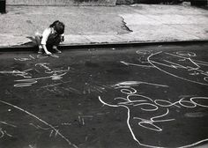 André Kertesz - Untitled - girl drawing with chalk, 1962