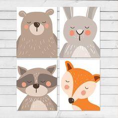 4 pc Woodland nursery wall art Woodland poster Woodland decor Nursery decor Fox Bear Raccoon Bunny 8x10 Instant download Digital printable