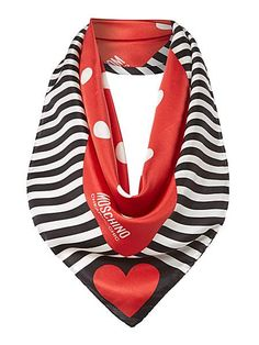 Moschino Cheap & Chic Spot stripe silk square scarf.