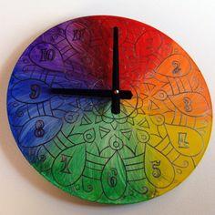 Rainbow Clock With a Silver Lining  Geometric Mandala by EyePopArt, $55.00