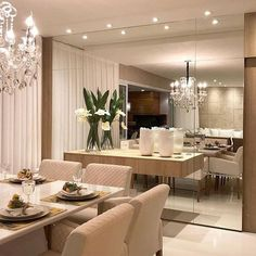 Dining Room Mirror Wall, Living Room Mirrors, Dining Room Walls, Dining Room Design, Dinner Room, Luxury Dining Room, Floating, Home Living, Small Living Dining