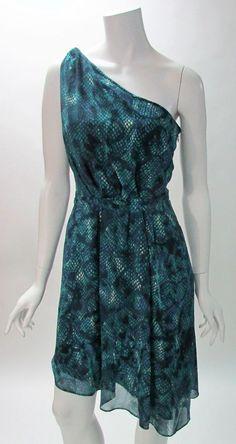 Rachel Rachel Roy Green Snake Printed One Shoulder Cocktail Dress 6 NWOT #RachelRachelRoy #AsymmetricalHem #Cocktail