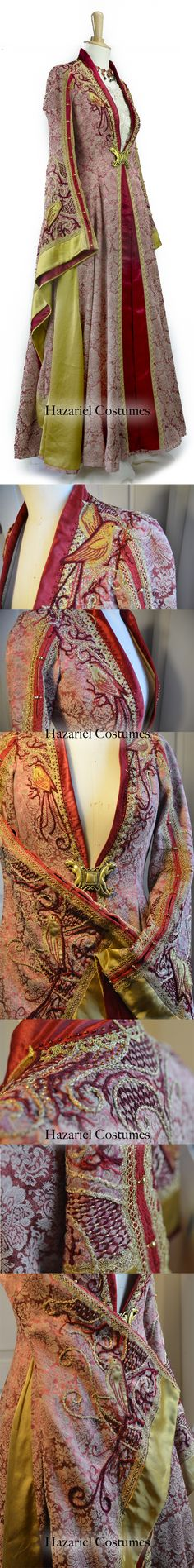 Handmade unique medieval embroidered dress, inspired by Cersei Lannister in Game of Thrones. Made by Hazariel   www.facebook.com/HazarielCostumes
