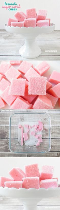 A quick and easy way to make Sugar Scrub Cubes. A perfect DIY gift idea!