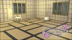 Japanese Style Wall and Floor Set - by Graphite91 Sims 4 #asian