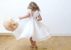 Fairy White flower girl dress Fancy ivory dress by Blushingirls