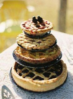 wedding pie cake, wedding cake ideas, wedding cake inspiration, pie, pie tower, wedding topper, apple pie wedding cake