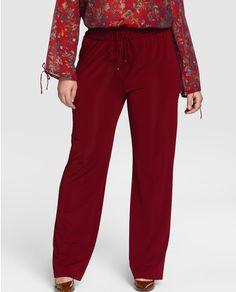 Pantalón fluido de mujer talla grande Couchel en color granate