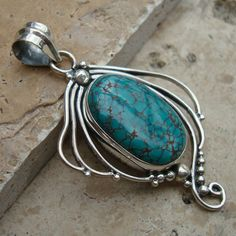 TURQUOISE Gemstone Cabochon Solid 925 Silver Pendant Jewelry
