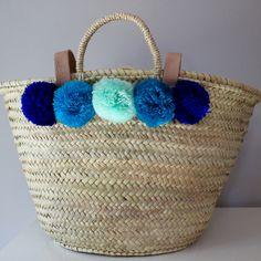 pompom basket, wool pompom bag