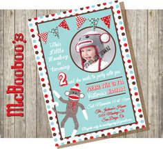 Sock Monkey Birthday Party Invitations with picture by McBooboos, $11.00