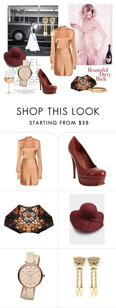 """""""Satin caramel"""" by nataal ❤ liked on Polyvore featuring Rasario, Karl Lagerfeld, Acne Studios, Yves Saint Laurent, Alexander McQueen, Marc by Marc Jacobs, Roberto Cavalli and Ashley Pittman"""