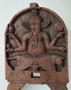 Ganesh Kavadi wood panel  India  19th century by TribalandFineArt