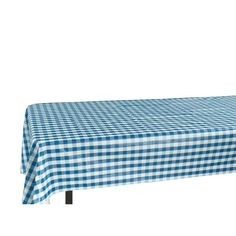55 in. x 102 in. Indoor and Outdoor Blue Checkered Design Table Cloth for Dining Table