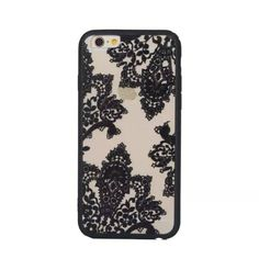 Retro Vintage Print Pattern Flower Phone Case Cover For iPhone 6 6S Hard Cases For Iphone6 Black Lace Floral Case Back Cover