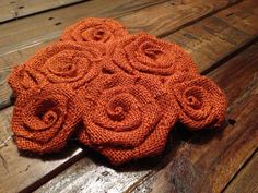 Six Burnt Orange Burlap Flowers by SimplySouthernCrafts on Etsy, $10.00