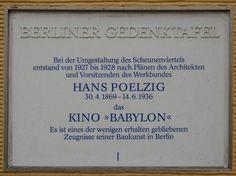 Berlin GTafel Poelzig - Kino Babylon – Rosa-Luxemburgstrasse 30