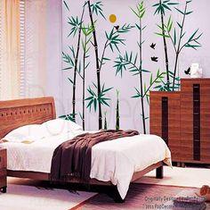 Bambú árbol pared calcomanías Oriental estilo pared pegatinas