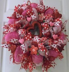 Happy Valentines Day Wreath Deco Mesh by PJCreativeWreaths on Etsy, $67.50