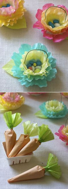 DIY Coffee Filter Flower & Carrot Favors - at Urban Comfort// cupcake deco idea Coffee Filter Crafts, Coffee Filter Flowers, Coffee Filters, Spring Crafts, Holiday Crafts, Holiday Fun, Diy For Kids, Crafts For Kids, Easter Crafts For Adults