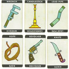 Clue weapon cards by Rosemary Travale, via Flickr