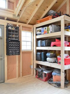 Related: interesting metal shed shelving nice shed design : garden and gara Storage Shed Organization, Diy Garage Storage, Workshop Organization, Organizing Ideas, Shed Shelving, Shelving Ideas, Garage Shed, Small Garage, Garage Workshop