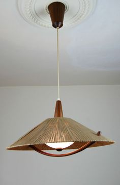 1960s Teak & Rope DANISH Pendant Lamp Modern Mid Century Eames Luxus 50s 70s ra