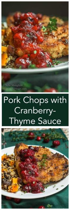 Pork Chops with Cranberry-Thyme Sauce look and taste like it's only for a special occasion but it's quick enough to put on your table any day of the week.   HostessAtHeart.com