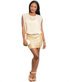 Sequin dress w a chiffon blousom top design in beige