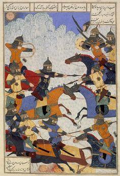 battle of 12 heroes, timurid shahnameh, tabriz museum, 1494