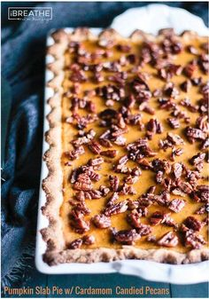 This low carb and gluten free pumpkin slab pie will be your new favorite! The Cardamom Candied Pecans on top take it to the next level! Keto & Atkins friendly.