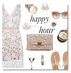 """Happy hour"" by nineseventyseven ❤ liked on Polyvore featuring New Look, Dolce&Gabbana, Head Over Heels by Dune, Chanel, Topshop, FOSSIL, WiseWear, Riedel, lacedress and happyhour"