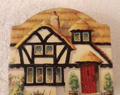 Vintage Tuckers of Totnes Toffee Tin / English Country Thatched Cottage Tin / Vintage Confectionery Tin / 1950's Tin