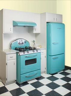 Love the blue stove and fridge!