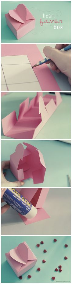 DIY Heart Favor Box Tutorial Best Picture For gifts packaging For Your Taste You are looking for som Origami Paper, Diy Paper, Paper Crafting, Origami Box, Oragami, Craft Gifts, Diy Gifts, Fun Crafts, Diy And Crafts